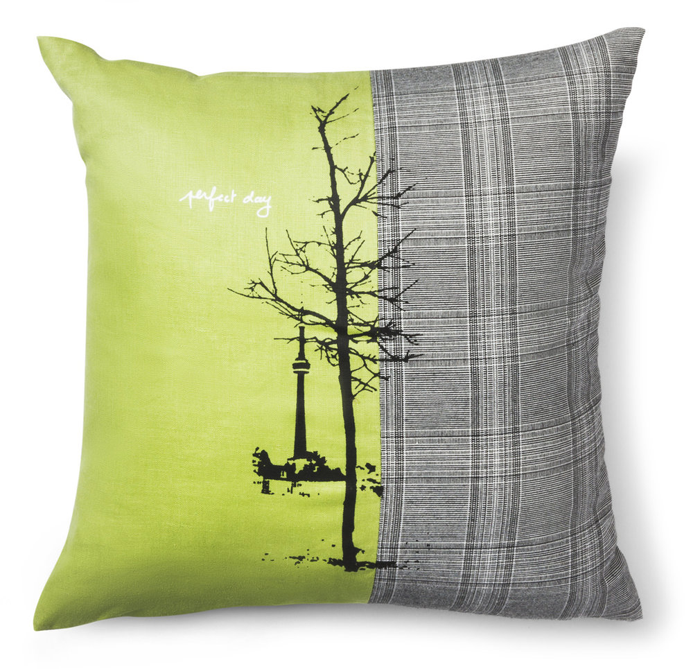 My prints are based on photographs of the city and nature, and inspired by the seemingly mundane moments of everyday life. Each pillow is unique and available only through the One of a Kind show and at my studio.  Mix of linen, wool and cotton.