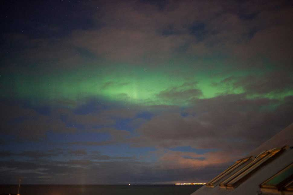One of my greatest memory from my residency is when all of the artists in residence woke up in the middle of the night and rushed to the balcony to see the northern lights...right there. Breathtaking.