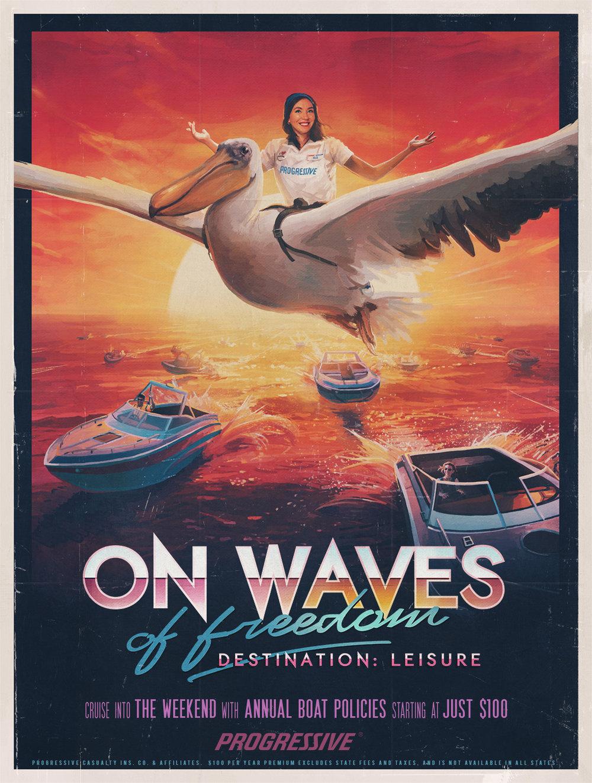 progressive insurance retro illustrated movie posters sam spratt