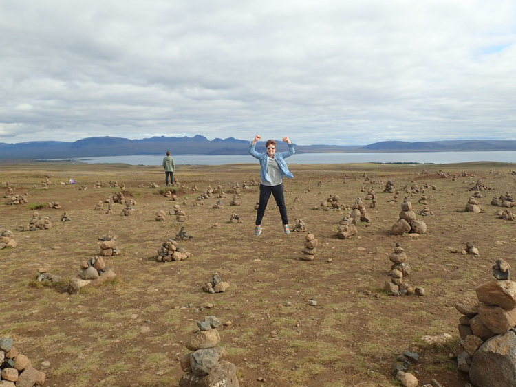 Rikka, posing among the cairns in Iceland