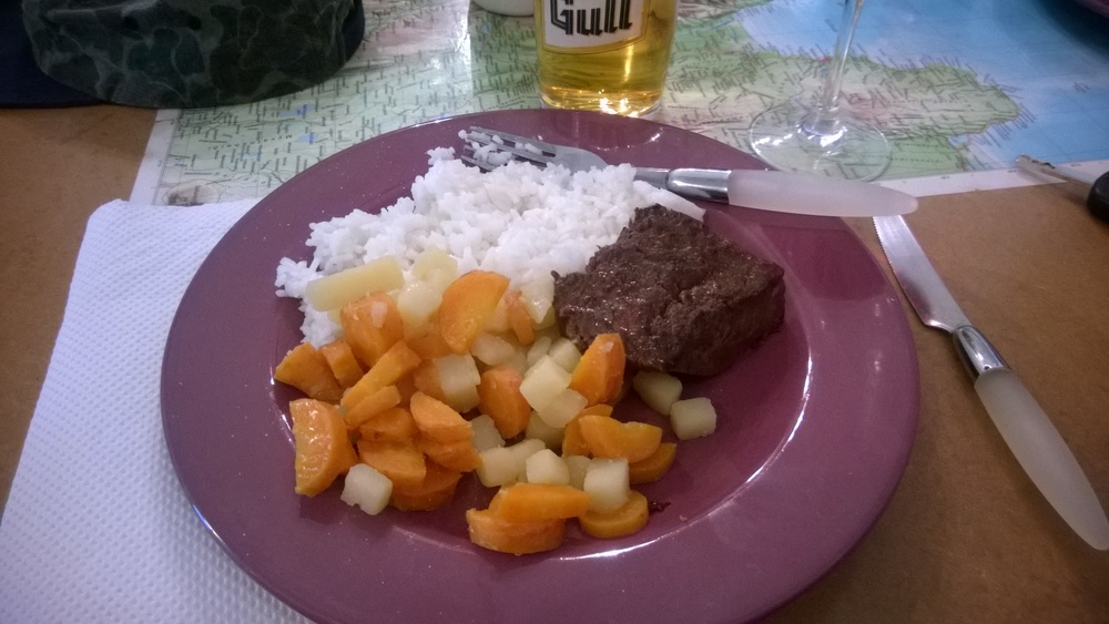 Minke whale with rice and a side of veggies