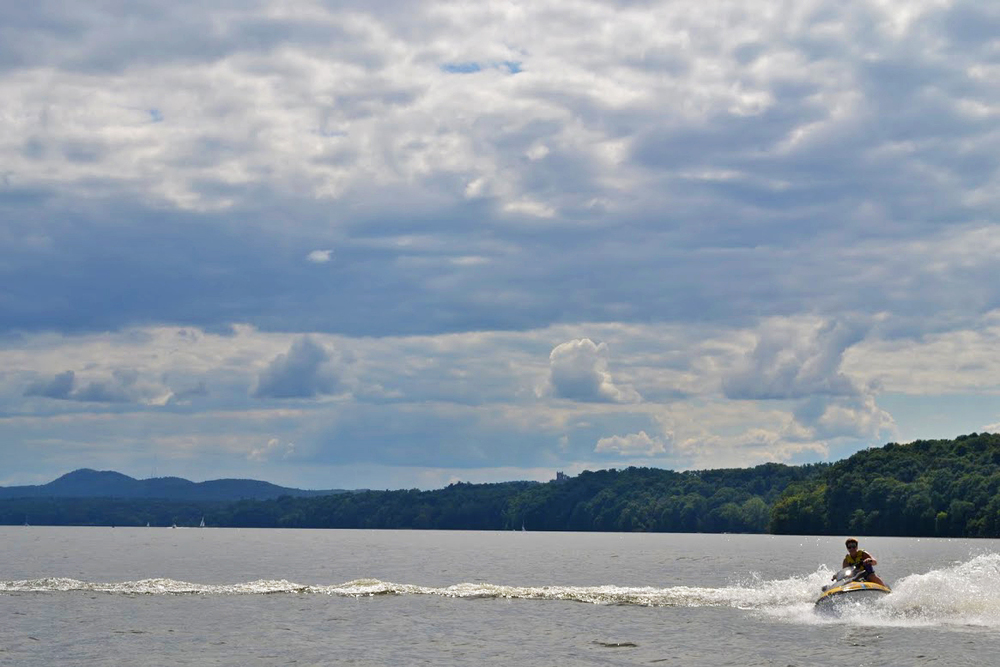 Riding my faithful jet-ski on the Hudson River in upstate New York