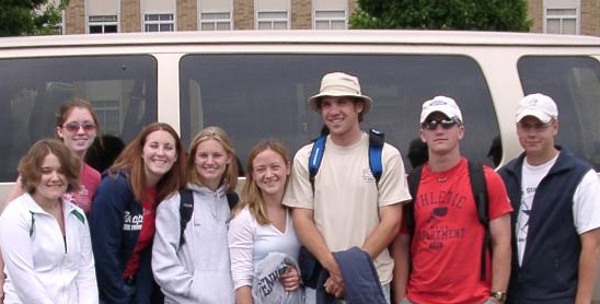 Me (left) in high school (!!) about to depart for Ireland with a group of classmates