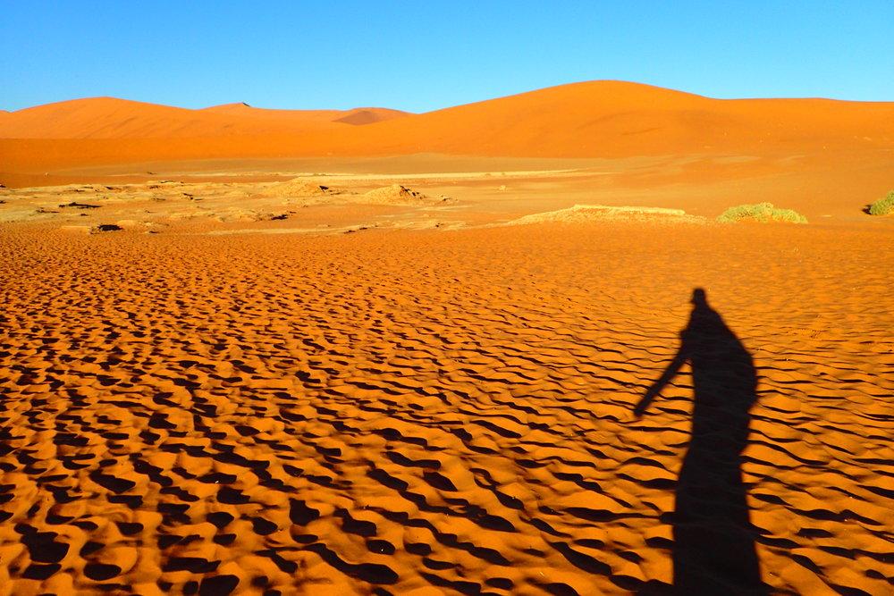 Trudging through the Namibian desert