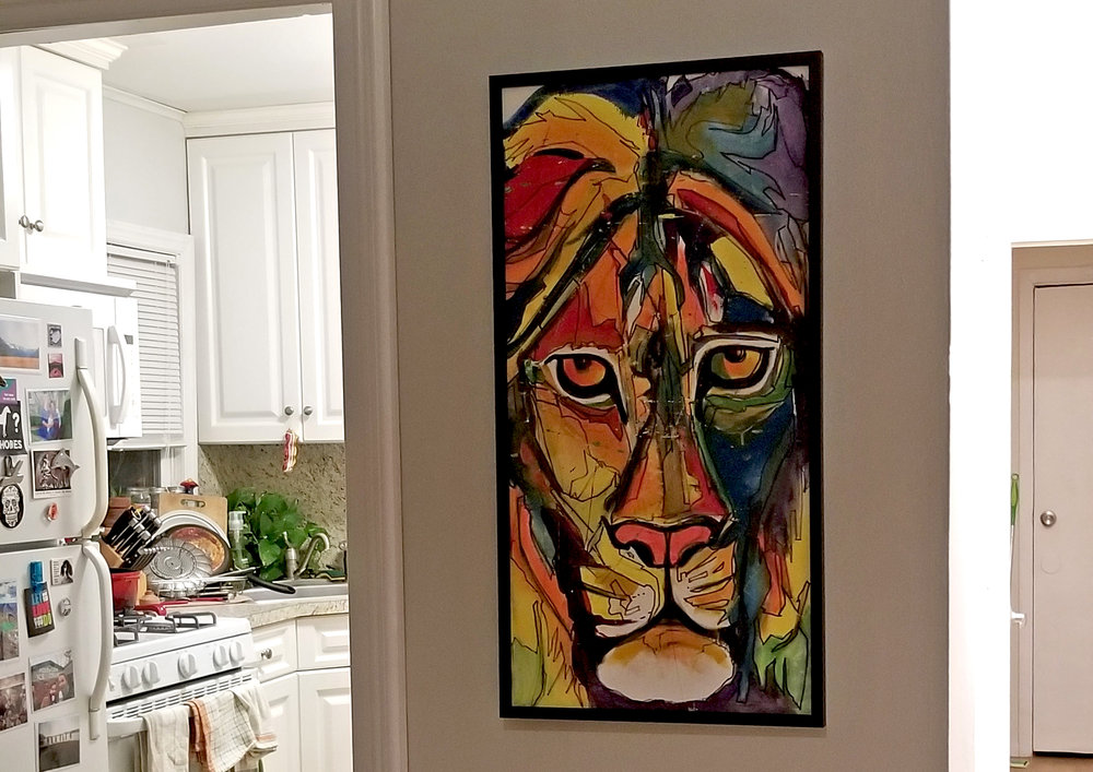 My lion painting hanging up at home (by Erik)