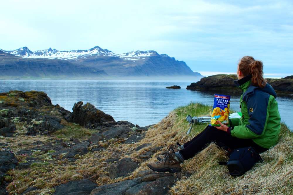 Picnicking in the peaceful town of Djupivogur.