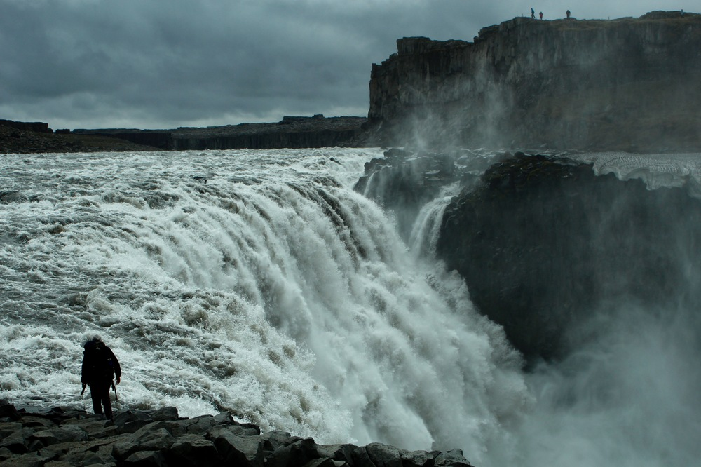 Hadrian getting way too close to Dettifoss, the most powerful waterfall in Europe.