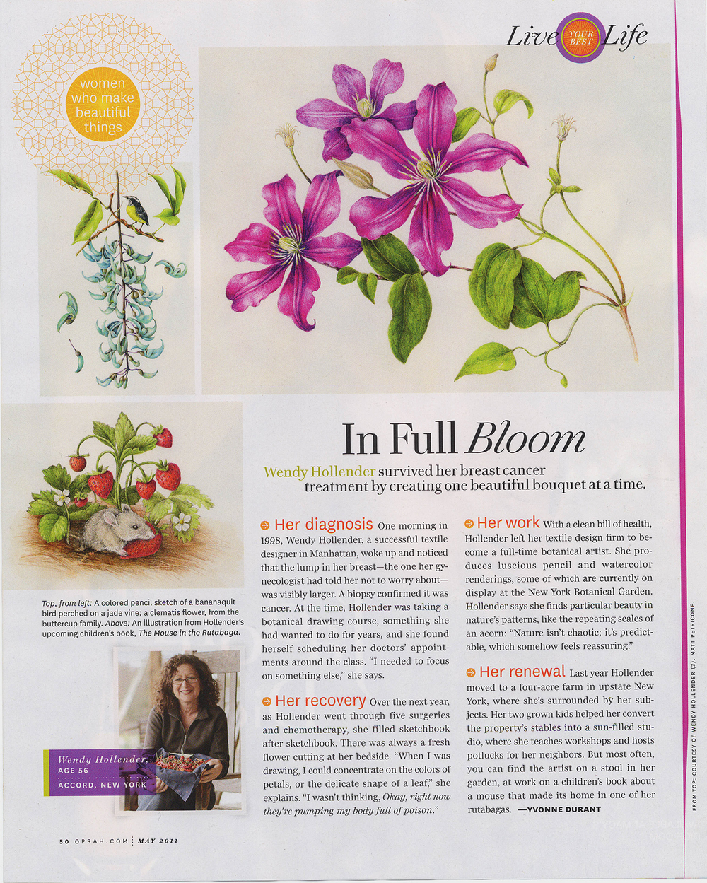 "OPRAH MAGAZINE May 2011 Artist profile in the column ""Women who make beautiful things."""