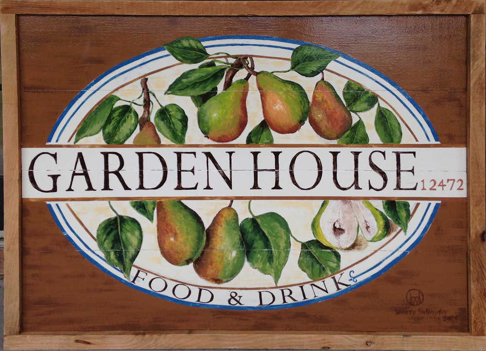 Hand Painted Sign for Garden House Restaurant
