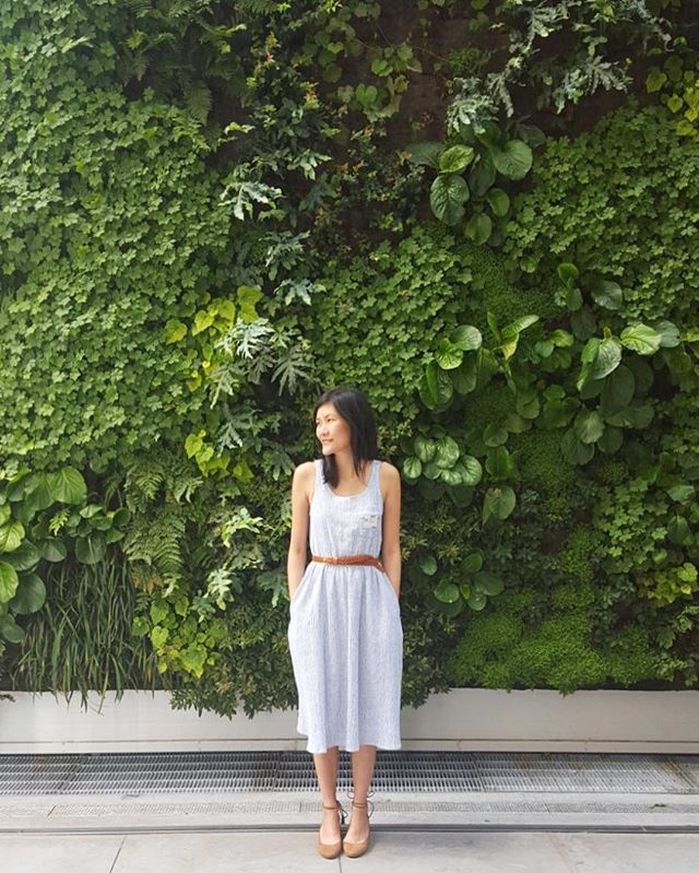 Back at the studio in #yvr today but daydreaming about all the inspiring people, places, food and design in #nyc and #sfo. ☁️😊 - #handmade #textured #striped #linen #dress #madeinvancouver #madeincanada #shopsmall #shoplocal #greenwall #livingwall #moma #sfmoma #sanfrancisco #california #ilovesf #iloveny