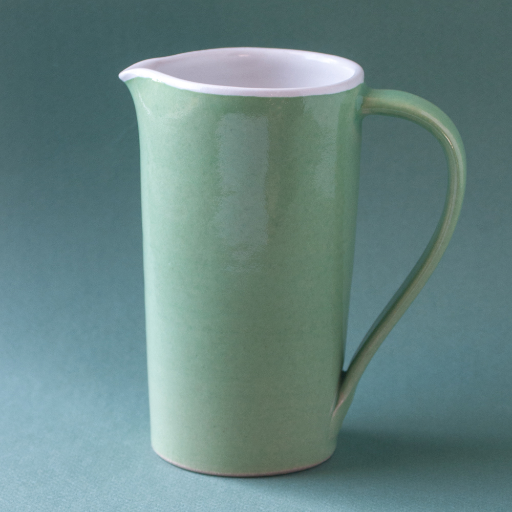 Topsy Jewell green and white ceramic jug