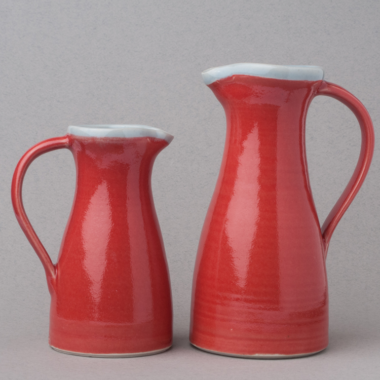 Topsy Jewell beautiful red ceramic jugs