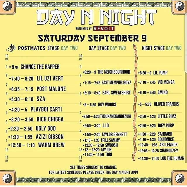 Tommorows line up for day 2 of #daynnightfestival #chancetherapper #liluzivert #postmalone #sza #playboicarti #lilpump