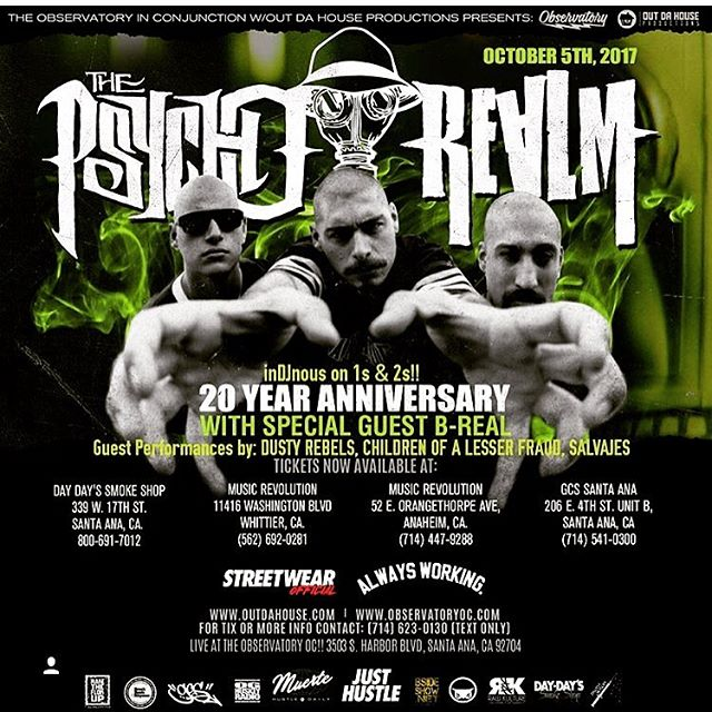 20 year anniversary show get your tickets before they sell out @musicrevwhittier @thepsychorealm @sickjacken @dukepsychorealm @breal #breal #thepsychorealm #psychos #observatoryoc