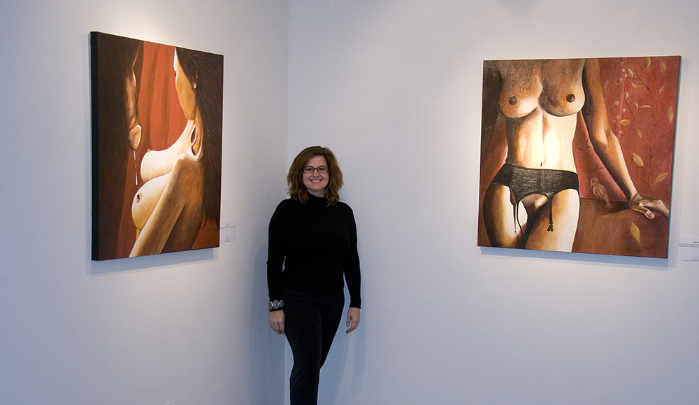 Tatiana von Tauber, artist, posing with Coupling (left) & Baby Bird (right)