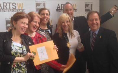 Carol Arrucci (rear/center) accepts one of 2 grants from Arts Westchester.