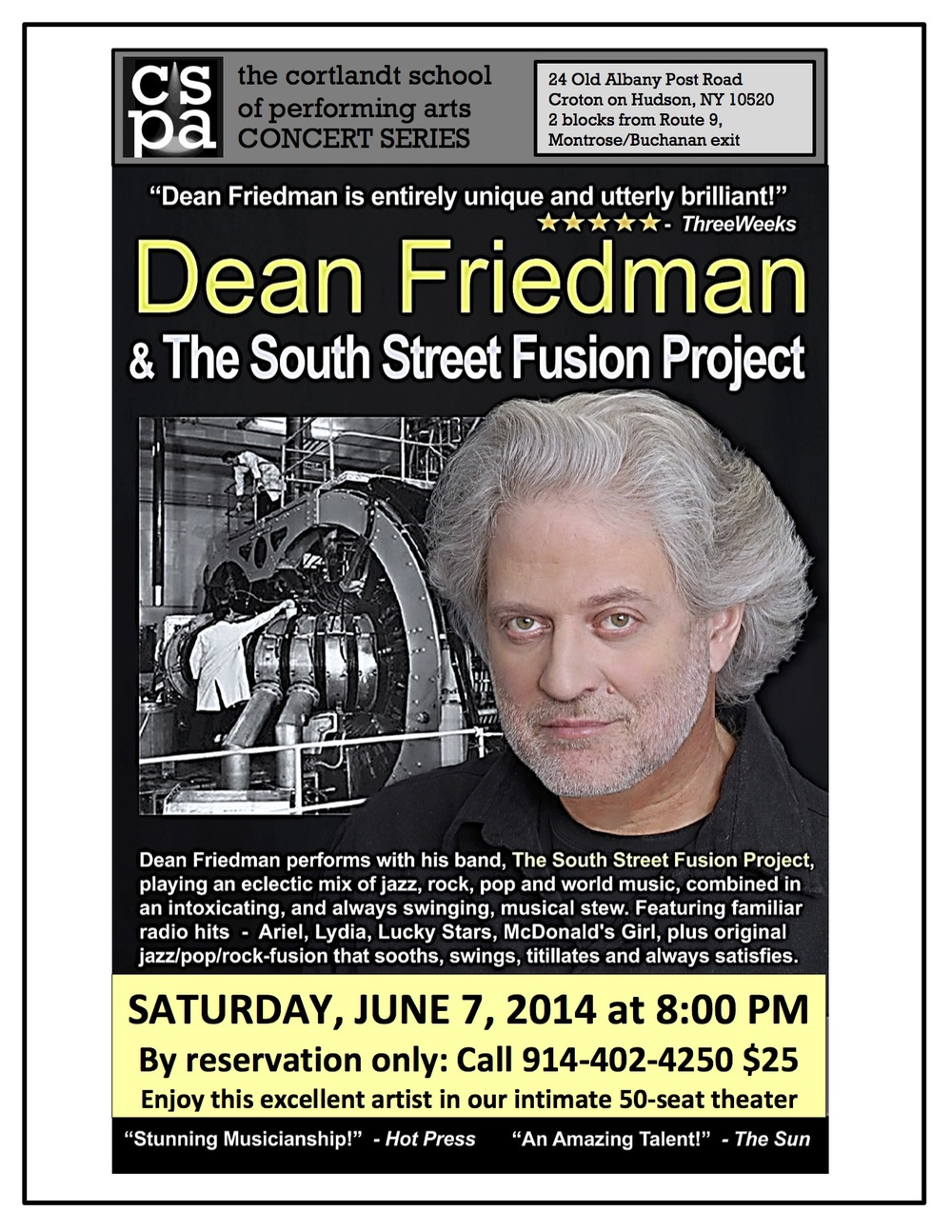 Dean Friedman, 70's  pop /rock star performed live at CSPA!  What a thrill.