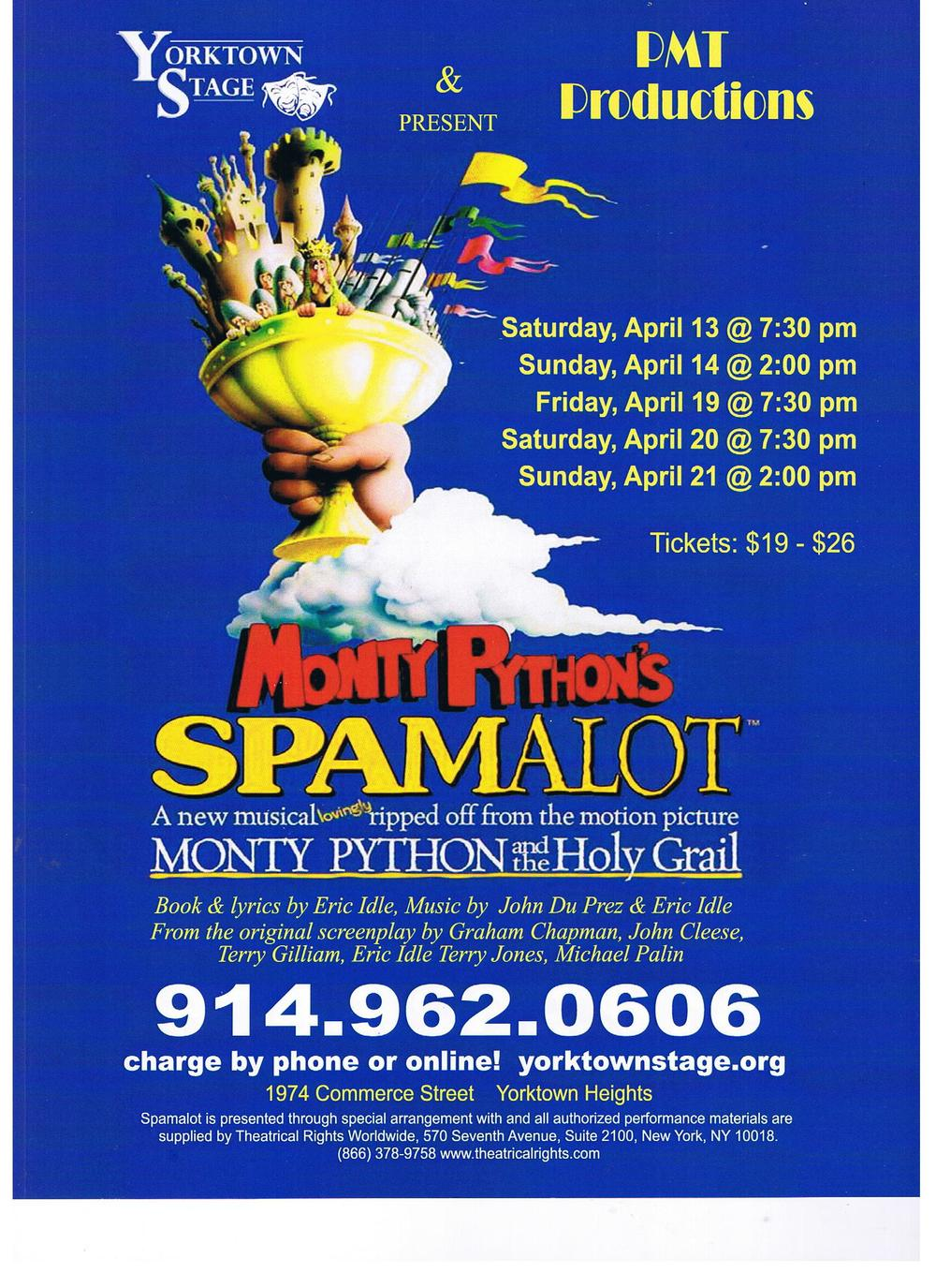 "PMT Productions rehearsed ""Spamalot"" in our studio.  Wht a funny cast and lots of laughs for 6 weeks!"