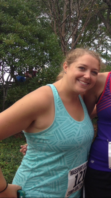 Client, Heather J., after completing a 5K summer run