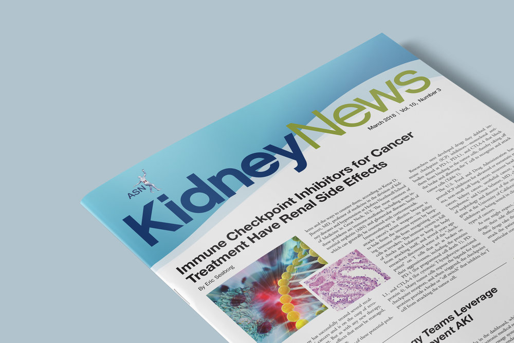 The American Society of Nephrology's  Kidney News , a source for information in the kidney world. From workforce trends to scientific advances, the monthly newsmagazine covers news of widespread interest to the kidney community. Pinpointing emerging trends in industry, medicine, and training that will impact practitioners in all avenues of kidney health and disease and to provide more commentary and speculation than a scientific journal can allow. More than 18,000 ASN members, treatment centers and members of congress have read this publication.