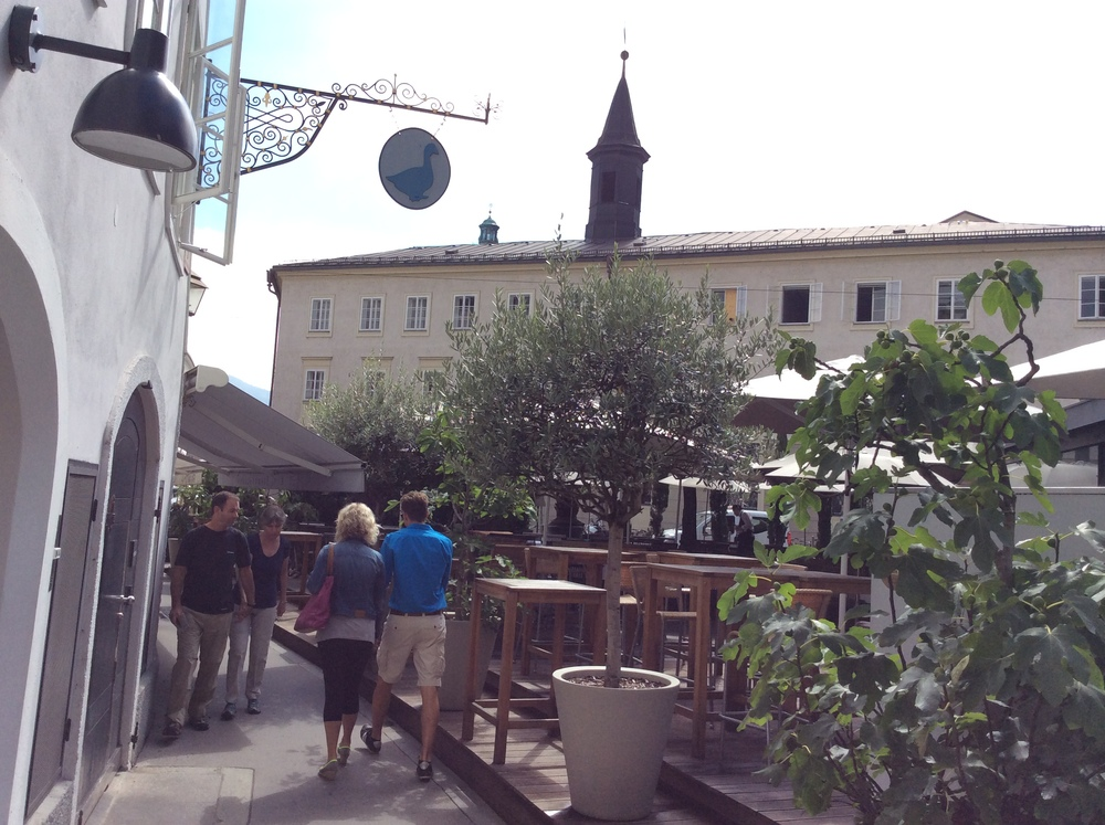 Outdoor seating on the Universitaetzplatz and a hop and a skip from the Festspielhaus