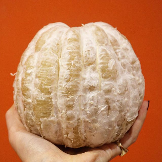 Pomelo🧡how I love you... #citrusking @anna.spencer.93 #pomelo #weirdfruit #fruitforbreakfast #orangewalls