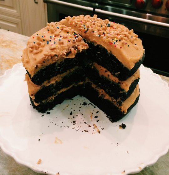 Sour Cream-Chocolate Cake with Peanut Butter Frosting