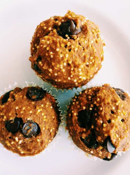 pumpkin millet chocolate chip muffins recipe 2