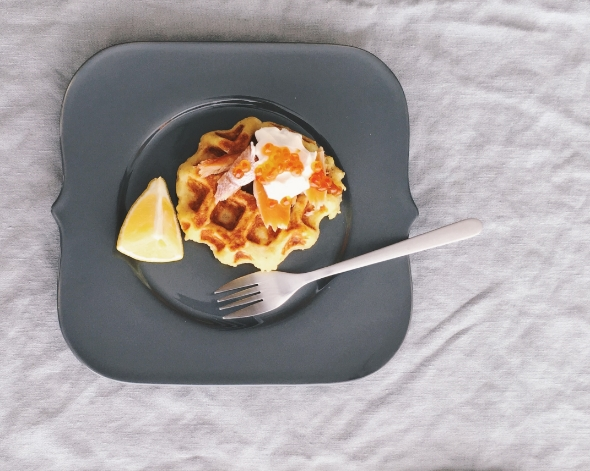 potato waffles with smoked trout recipe