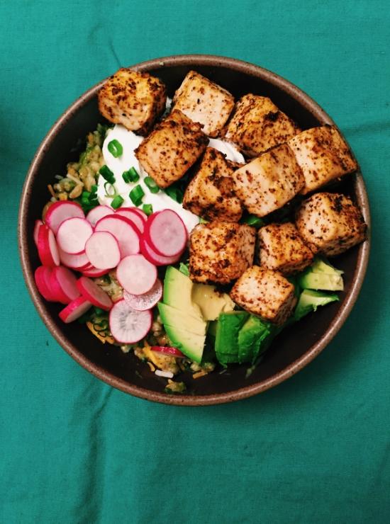 farro tofu taco bowl
