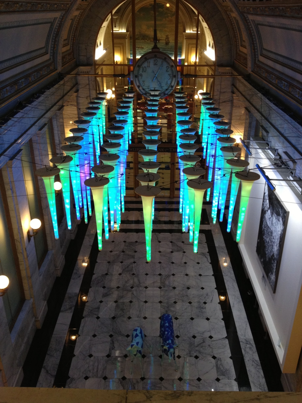 Holiday Installation at a historic building downtown -