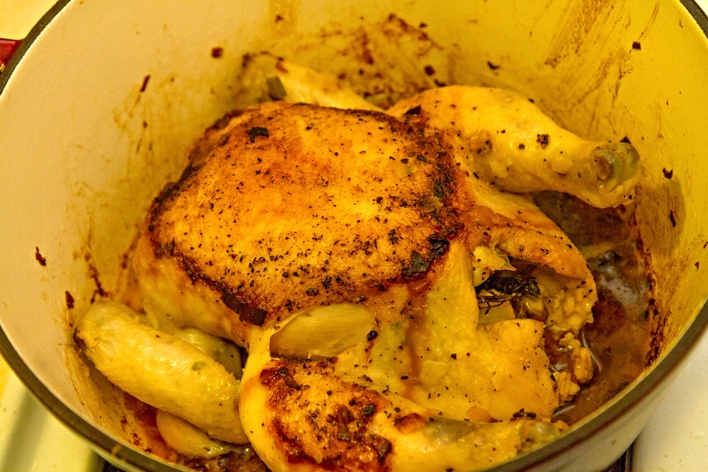 Cooked chicken after ~1.5 hours in the oven. Set aside to rest for 20 min. before carving up.