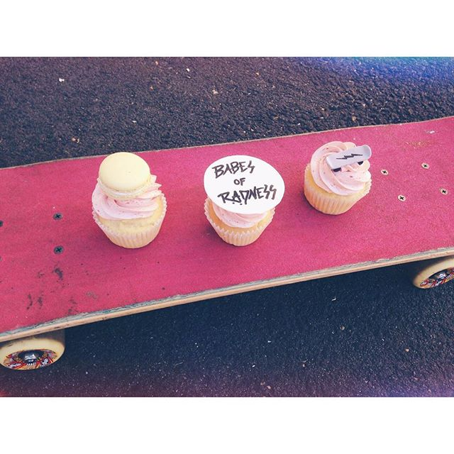 What do we love more than cupcakes? Custom @legateaubakeshop cupcakes inspired by all the @babesofradness. Super stoked on all our rad creative friends and to be surrounded by some seriously strong ladies! #girlgang #BOR #cupcakes #girlswhoskate #eastvan #skateboard #sweettreat #yum