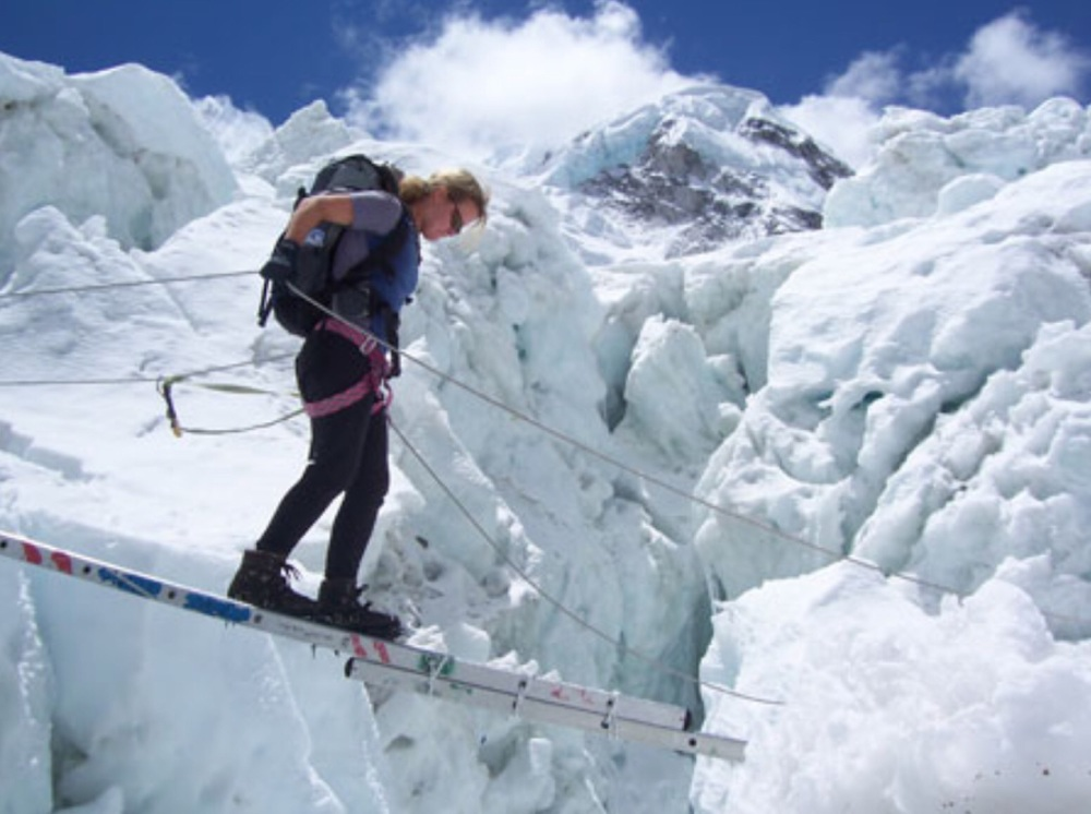 Crossing the Khumbu Icefalls Mt Everest 2005