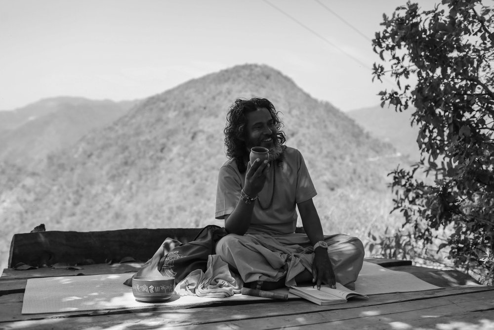 Learning philosophy by a local spiritual teacher in the foothills of the Himalayas, India