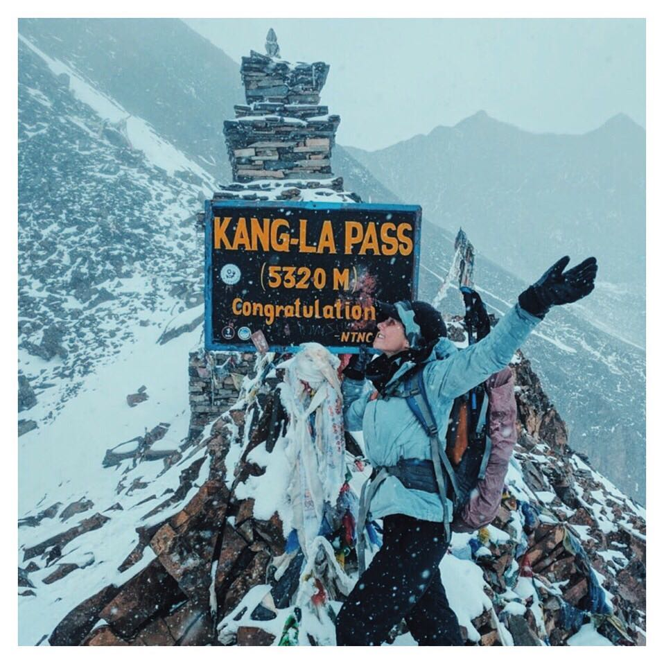 The top of Kang-La Pass, restricted Nar Phu trek, Nepal
