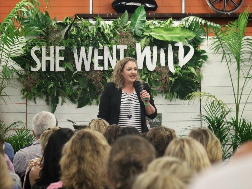 Amy speaking & hosting the Speakers Stage at the 2017 She Went Wild Expo
