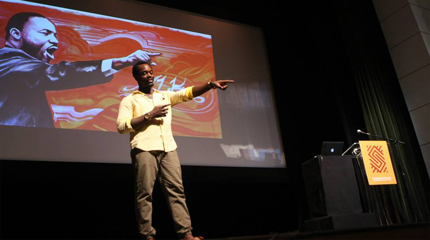 CPT PREZ SHAUN NEBLETT @ THE SCHOMBURG- CPT President Shaun Neblett addressed educators at the 360 COnference to talk about the importance of theater education and etc.