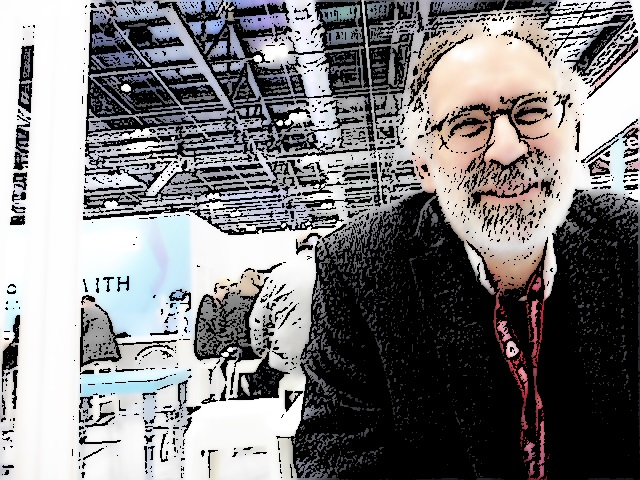 Mitch Resnick at #Bett2019 — ink drawing effect. Photo by Terry Freedman