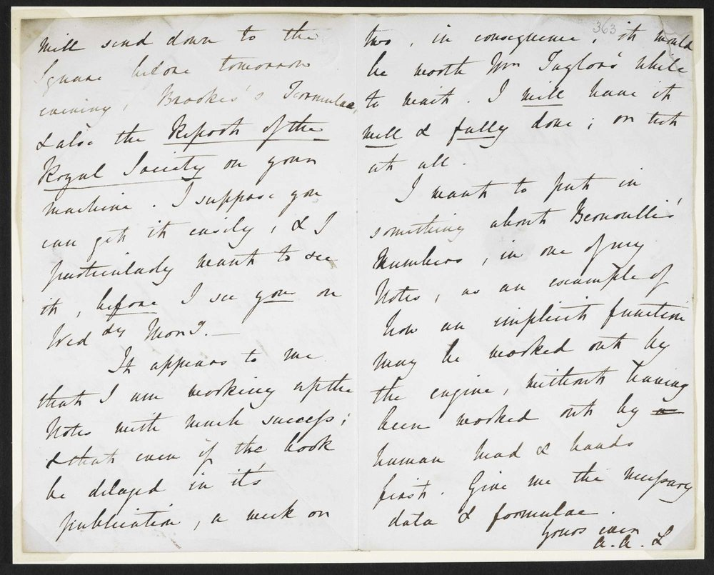 Letter from Ada Lovelace to Charles Babbage. From the British Library. Licence: Public Domain