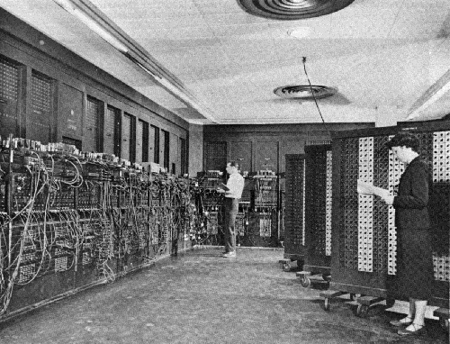 ENIAC. U.S. Army Photo [Public domain], via Wikimedia Commons. Picture credit for Eniac:  This image is a work of a    U.S. Army    soldier or employee, taken or made as part of that person's official duties. As a    work    of the    U.S. federal government   , the image is in the    public domain    .    URL:  https://commons.wikimedia.org/wiki/File:Eniac.jpg