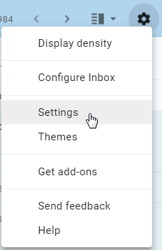 The Settings option in Gmail, by Terry Freedman