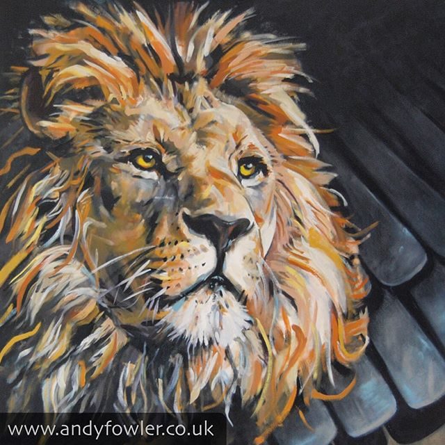 The king of the jungle! Here's #shumba / #lion with #mbira My #painting #wildlifepainting - #artist #wildlifeartist #andyfowler #andyfowlerart #andyfowlerartist