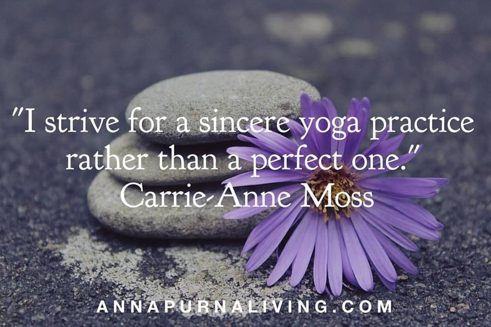 Sincere Yoga Practice by Carrie Anne Moss via AnnapurnaLiving.com