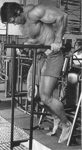 Here you can see Arnold performing a weighted chest dip, **note the angle of his torso.