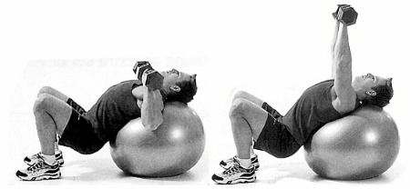 This is a great example of an incline, Swiss Ball chest press. **Note the angle of the torso, and how close the gluteus are to the floor.