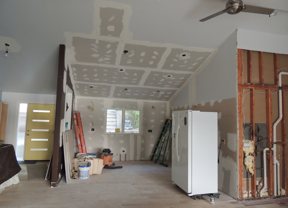 With the roof repaired, the recessed lighting can be installed, celling insulated and drywall put in place by late July.