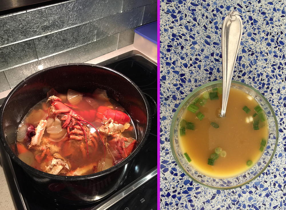 On New Year's Day, Chef Husband completes the task of turning lobster shells into broth. He rocks—and so does the new kitchen!