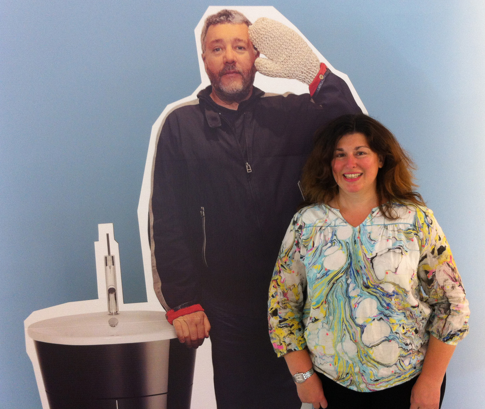 Me and a   Philippe Starck cut-out   in the Duravit showroom   in Manhattan   on October 3. We decided against getting his tub.