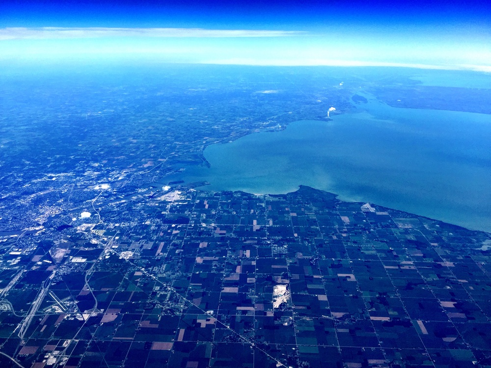 Over Woodville, Ohio (about half an hour from Bowling Green State University — ay ziggy zoomba!), with a view of Lake Erie at 9:49 AM.